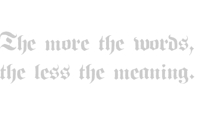 The more the words, the less the meaning.