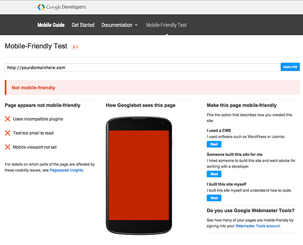 Google Mobile-friendly Test Web Site